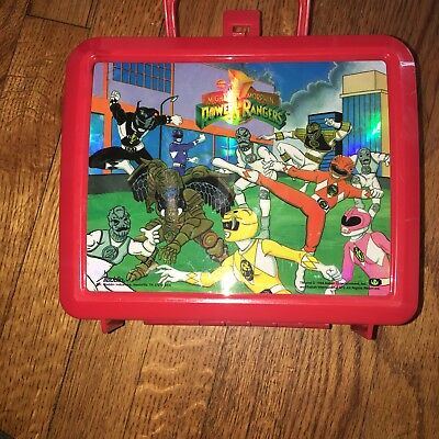 Vtg 90's Mighty Morphin Power Rangers Holographic Aladdin Lunch Box W/Thermos