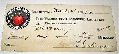 1917 Cancelled Check from THE BANK OF CROZET INC. Crozet VA Red Apple Graphic