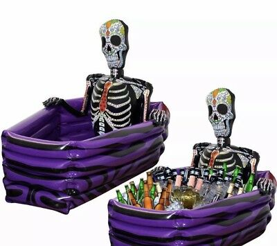 Drinks Cooler Halloween Day Of The Dead Skeleton Coffin Inflatable Grave