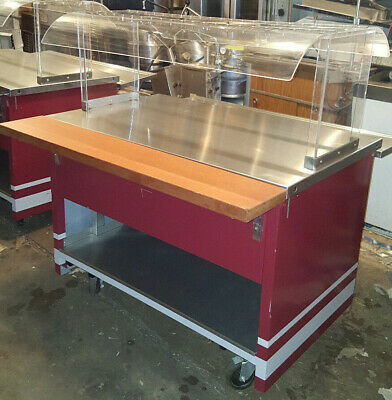 Seco Buffet Table Portable Serving Line Food Cart Portable Cafeteria w/ Guards