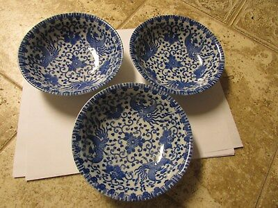 "Japanese Vintage Blue & White Phoenix Bird and Flowers bowls 5 1/2"" dia. 1 1/2"