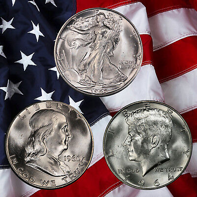 Walking Liberty, Franklin AND Kennedy silver Half Dollars!