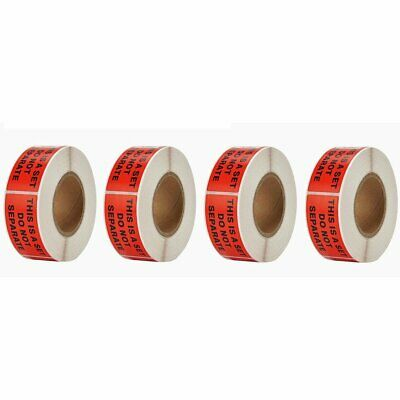 """4 Rolls 1"""" X 2"""" This Is a Set Do Not Separate Shipping Stickers Labels 500/Roll"""