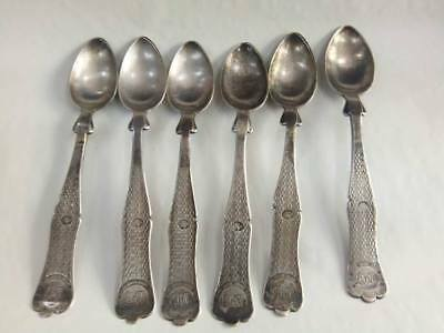 Complete set of Islamic Ottoman sterling silver spoons with tughra.