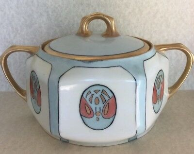 Antique H&c Rehau Bavaria Hand Painted Signed Lidded Dish Art Deco Nouveau Gilt