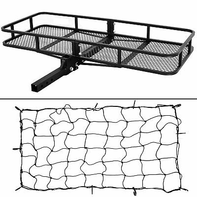 "60"" Cargo Carrier Hitch Mounted Receiver Hauler Luggage Basket + Cargo Net"