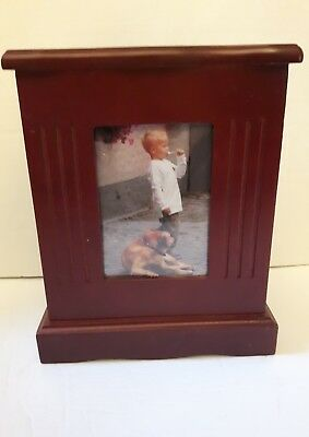 """wooden photo box albums CHERRY FINISH WITH 2 ALBUMS NEW 10"""" HIGH X 7.75"""""""