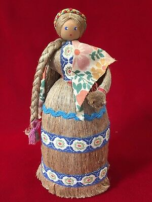 Vintage Russian Folk Art Doll Wheat Straw Peasant Girl with Original Label