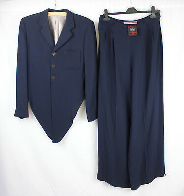 Navy Blue Jean Paul Gaultier Designer 2 Piece Suit Size 14