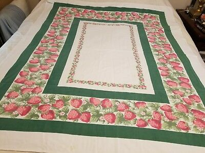 "Vintage Cotton Tablecloth With Strawberry Design  52"" X 62"""