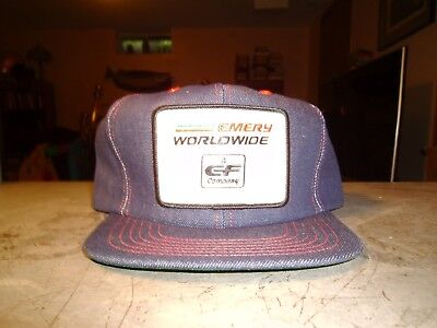 Emory Worldwide Trucker's Hat - Nos - Never Worn Vintage Snap Back Cap Denim
