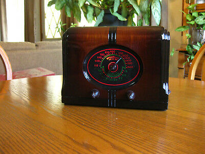 Beautiful & Working Antique Tube Table Radio.serviced, Colorful Dial,art Deco.