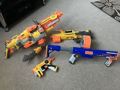 Joblot of 4 X Used Nerf Guns in Fully Functioning Condition - For Outdoor Use