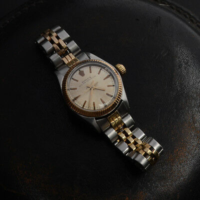 Vintage Rolex Ref 6618 Two Tone Women 14K Gold & Stainless Serviced Running Read