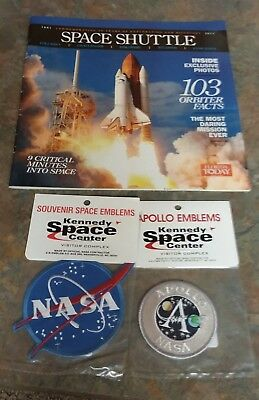 Kennedy Space Ctr Apollo NASA Space Emblems Patches -2011 Shuttle MAGAZINE- NEW!