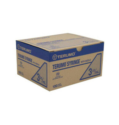 (100) Terumo Luer Lock Syringe 3ml(3cc) 25g x 5/8in box of 100