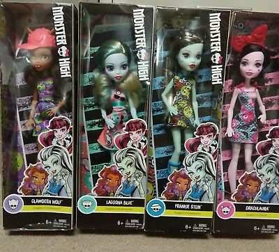 Lot of 4 Monster High Dolls Draculaura Frankie Stein Lagoona NEW Box wear damage