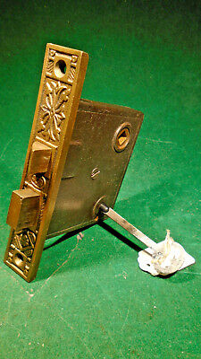 VINTAGE EASTLAKE MORTISE LOCK w/KEY - PROBABLY NORWICH RECONDITIONED (9554)