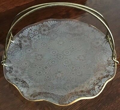 Vintage 1950's Glass Cake Stand With Lacy Design And Curved Gilt Metal Handle