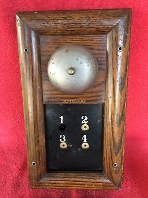 Antique Cotelco Annunciator Butler Call Bell Room Number Wood Box Home Servant