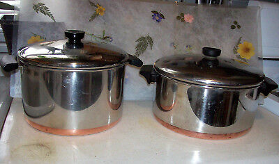 Vintage Revere Ware Pre 65 USA 6 Qt Stockpots Lids Stainless Steel  Lot of 4 Pcs