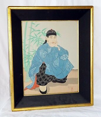 """'40s French Woodblock Print """"Man Crouching, Chinese"""" by Paul Jacoulet (Lon)"""