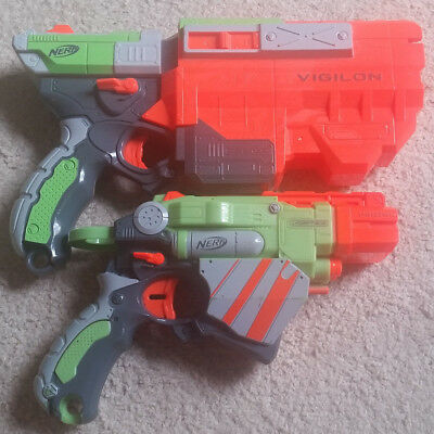 Nerf Vortex Vigilon And Proton Soft Disc Blaster Gun Lot