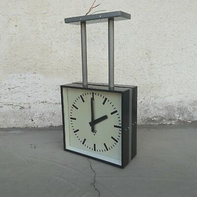 DOUBLE TWO SIDED STATION CLOCK 34cm SQUARE 1960's PRAGOTRON