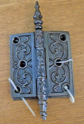 Pair Vintage Eastlake Hinges  3.5  X 3.5 Steeple Top - Beautiful  (10822)