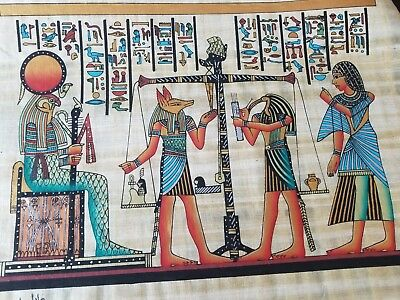 HAND PAINTED EGYPTIAN ART ON PAPYRUS Judgement and weighing of heart
