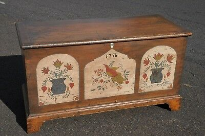 19th Century Pine Six Board Blanket Chest With Later Paint Decoration