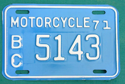 1971 British Columbia  MOTORCYCLE  license plate