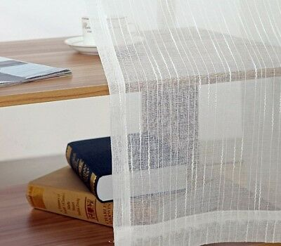 White All-match Linen Stripe Windows Screens Sheer Panels Curtains Living Room