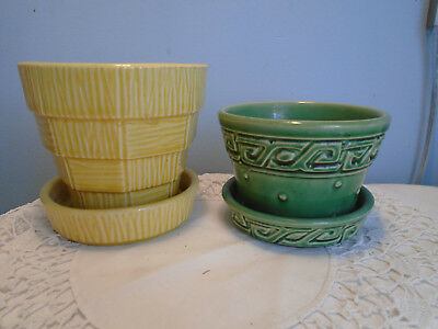 Two McCoy Flower Pots Attached Saucers Green Greek Key Yellow Basket Weave