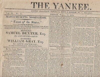 War Of 1812 Newspaper. Com. Rodgers' Cruise. 1814 Issue Of The Yankee, Boston