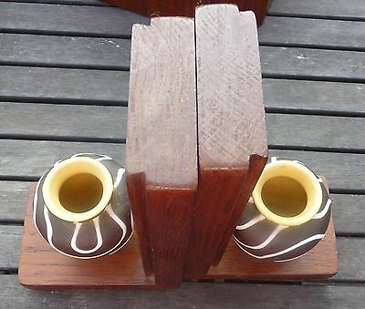 unusual vintage wood bookends vases flowers display decor treen collectable