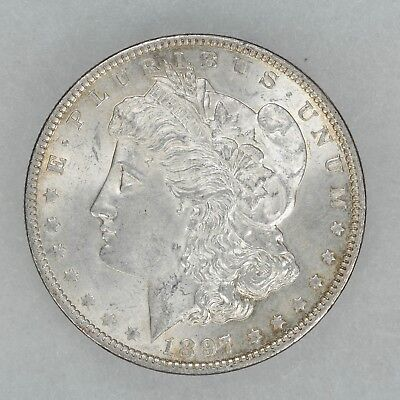1897 Morgan Silver Dollar $1 Choice Au / Bu Uncirculated Pitted Rev Vam 6A (7135