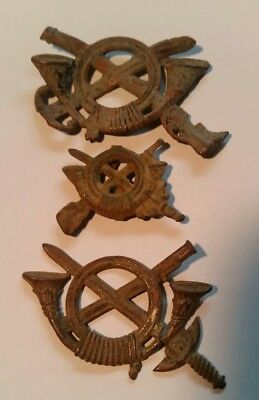 Collection of 3 Spanish Collar or Hat Infantry Badges Insignia -- ca 1870s-90s