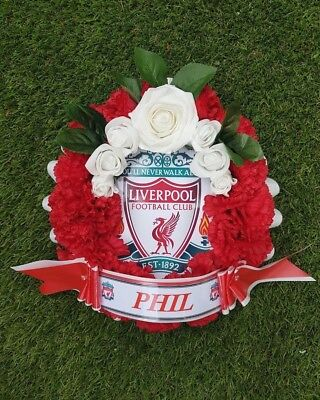 Liverpool FC Artificial Silk Flower Football Funeral Wreath Memorial Tribute