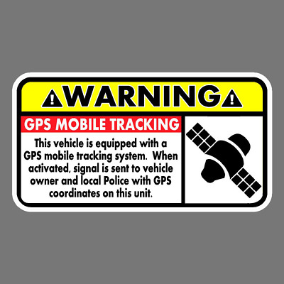 WARNING GPS MOBILE Tracking Vinyl Sticker Car Truck Window Decal Safety  Theft