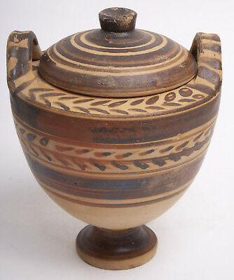 Ancient Messapian lidded Lebes Gamikos, Circa 4th to 3rd Cent BC.