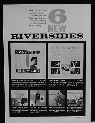 1958 Sonny Rollins, Pepper Adams, Johnny Griffin Riverside record promo print ad