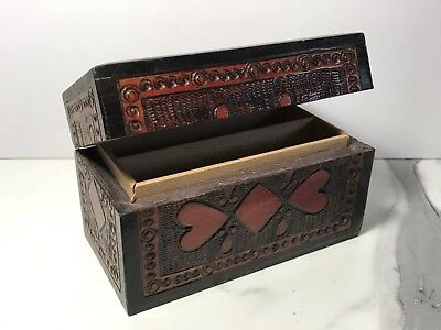 Vintage Treen Wooden Two Deck Playing Card Holder Box With Hinged Lid