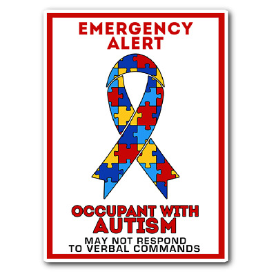 Occupant Child Adult With Autism Emergency Car Truck Window Decal Vinyl Sticker