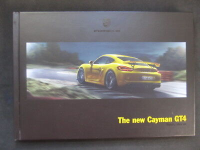 Porsche Cayman GT4 Hardcover Brochure w/ Yellow Cloth Bookmarker - NEW.