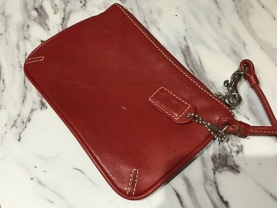 Authentic Coach Red Leather Wristlet in Excellent Condition