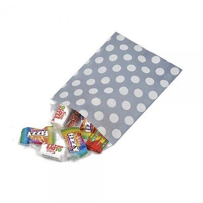 "GREY Polka Dot OR Candy Stripe  Design Sweet / Gift / Party Paper Bags - 5"" x 7"""