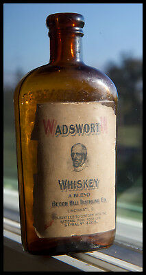 Labeled Pre-Prohibition 1/2 Pint Whiskey Flask. WADSWORTH  WHISKEY CINNINNATI O