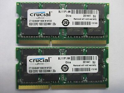 Crucial 16Gb (2X 8Gb) 2Rx8 Pc3L-12800 Ddr3L-1600 Ct102464Bf160B Laptop Memory T3