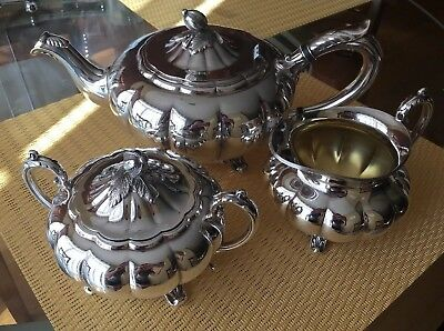 Melon Sheffield Design By Community Tea Set Silver Plated Excellent With Damage